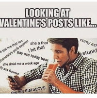 Ass, Funny, and Thot: LOOKING AT  VALENTINES POSTSLIKE  Corny as  that expire  tob she a thot  I hit that  Stupid  o gay teddy bear  ass she dmd me a week ago  sly ass flowers  che Got that at CVS  tw 😂😂😂 tagafriend