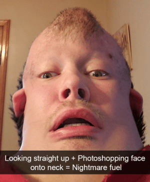 Funny, Wow, and Looking: Looking straight up + Photoshopping face  onto neck = Nightmare fuel Oh wow via /r/funny https://ift.tt/2QncJf9