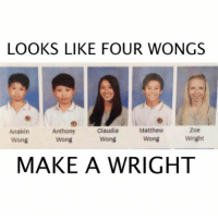 Memes, 🤖, and Make A: LOOKS LIKE FOUR WONGS  Anthony  Claudia  Matthew  Zoe  Anakin  Wright  Wong  Wong  Wong  Wong  MAKE A WRIGHT Lmaoo