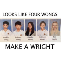 Memes, 🤖, and Make A: LOOKS LIKE FOUR WONGS  Zoe  Anakin  Anthony  Claudia  Matthew  Wong  Wright  Wong  Wong  Wong  MAKE A WRIGHT 😂😂