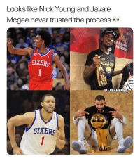 They both are champions now 👀😂 - Follow @_nbamemes._: Looks like Nick Youna and Javale  Mcgee never trusted the process  SIXERS  G NBAMEMES  SIXERS They both are champions now 👀😂 - Follow @_nbamemes._