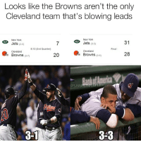"""Indians blew a 3-1 lead"" meme coming soon. @footballinsanity: Looks like the Browns aren't the only  Cleveland team that's blowing leads  New York  New York  31  Jets  (3-5)  Jets  (2-5)  8:12 (3rd Quarter)  Final  Cleveland  Cleveland  28  20  Browns  (0-8)  Browns (0-7)  OFUNNIESTNFLMEMES  3-3 ""Indians blew a 3-1 lead"" meme coming soon. @footballinsanity"