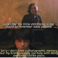Birthday, Brains, and Harry Potter: Looks like the little shit Potter is too  stupid to remember basic potions.  potter weekly  Sorry I don't have a photographic memory,  but my brain's already too busy with being  awesome. Unlike yours. ✎✐✎ ↯ ⇢ Sassy Harry strikes once again! ↯ ⇢ I'm going to Pearl Harbour this morning, and then in the afternoon I'm flying to New York City 😌excited to be a complete tourist ↯ ⇢ Please go follow the tagged account! She makes superb blended edits, you won't regret it :) ✎✐✎ Birthday(s) Of The Day 👇🏼🎂🎉 ⇢ [ please notify me if it is your birthday today! ] ✎✐✎ My Other Accounts: ⇢ @TheWizardWeekly - [ account for blended-video-aesthetic edits ] ⇢ @MarvelsWomen - [ co-owned Marvel account ] ⇢ @HPTexts - [ co-owned Harry Potter text messages account ] ⇢ @LumosTutorials - [ co-owned instagram tutorial account ] ✎✐✎ QOTD : What state-city are you in right now? AOTD : Hawai'i :)