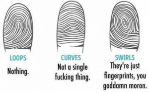 Fucking, Single, and Thing: LOOPS  CURVES  Not a single  fucking thing.  SWIRLS  They're just  fingerprints, you  goddamn moron.  y eus  Nothing. What do your fingerprint say about you?!