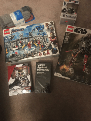 It's my birthday today, got some pretty good stuff!: LOP! MARVEL 272  EXCLUSIVE  MOON KNIGHT  CO  VINYL BOBBLE-HEAD/FIGURINE A TÉTE ORANLANTE  FIGURA CON CABEZA OSCILANTE  OUTDOOR SOCKS  RUGGED  SUMMIT WOOL  STAR  LEGO WARS  MARVEL  LEGO AVENGERS  Ages/edades  8+  75254  AT-ST Raider  Ages/edades  7+  540  pcs/pzs  76125  Iron Man  Hall of Armor  Building Toy  Jouet de conatruction  Juguete para Construir  524  pcs/pzs  Building Toy  Jouet de construction  Juguete para Cona  RON MAN MIK S0  RON MAN MK 41  LERM  IRON MAN MIK S  IRON MAN MK 1  A WARNING: CHOKING HAZARD.  Toy contains small parts and a small ball.  Not for children under 3 years.  OUTRIDER  OUTRIDER  POKS  Cards  Against  Humanity  GU-04  AEW-G-DO GUNDRM BARBRTOS  A party game  for horrible people.  DISNEY  THE MANDALONIAN  CARA DUNE  KLATOOIKIAN  RAIDER  GU-04  ASW-G-08  GUNDAM BARBATOS  BAN  DAI  A WARNING:  parts Not for childree ande  coor UN  CHOKING HAZARD  DANGA SPART  EASTERN  MOUNTAIN  SPORTS  SUMMIT WOOL  aGGED OUTDOOR SOCKS  2-Pack It's my birthday today, got some pretty good stuff!