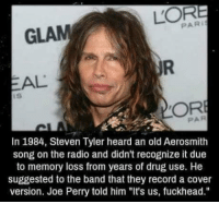 """Aerosmith, Memes, and Radio: LOR  GLAM  EAL  In 1984, Steven Tyler heard an old Aerosmith  song on the radio and didn't recognize it due  to memory loss from years of drug use. He  suggested to the band that they record a cover  version. Joe Perry told him """"It's us, fuckhead."""""""