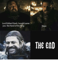 Memes, 🤖, and Stark: Lord Eddard Stark, Iwould name  you the Hand of the King.  pe  THE END Well..that was easy