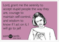 Dank, Jail, and Control: Lord, grant me the serenity to  accept stupid people the way they  are, courage to  maintain self-control,  and wisdom to  know if I act on it,  I  will go to jail!  cards  Som  ee  user card