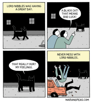 Bad, Omg, and Tumblr: LORD NIBBLES WAS HAVING  A GREAT DAY.  A BLACK CAT!  THAT MEANS  BAD LUCK!  NEVER MESS WITH  LORD NIBBLES.  THAT REALLY HURT  MY FEELINGS.  WARANDPEAS.COM omg-images:Lord Nibbles