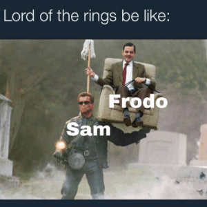 This right here: Lord of the rings be like:  Frodo  Sam This right here