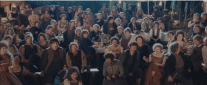 Lord of the Rings: Fellowship of the Ring (2001)- when Bilbo disappears at his 111th birthday party, the actors shocked reactions are real. This is because the styrofoam prop cake designed for the party caught fire in the background.: Lord of the Rings: Fellowship of the Ring (2001)- when Bilbo disappears at his 111th birthday party, the actors shocked reactions are real. This is because the styrofoam prop cake designed for the party caught fire in the background.