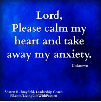 Memes, Anxiety, and Leadership: Lord  Please calm my  heart and take  away my anxiety  Unknown  Sharon K. Brayfield, Leadership Coach  .com/LivingLifeWithPassion <3 Sharon K. Brayfield, Professional Life Coach & Mentor