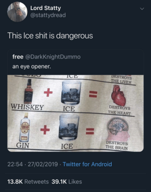 It ain't alcohol that hurts you: Lord Statty  @stattydread  his Ice shit is dangerous  free @DarkKnightDummo  an eye opener.  DESTROYS  THE LIVER  WHISKEY  ICE  DESTROYS  THE HEART  DESTROYS  THE BRAIN  GIN  ICE  22:54 27/02/2019 Twitter for Android  13.8K Retweets 39.1K Likes It ain't alcohol that hurts you