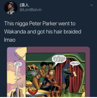 <p>*goes to wakanda once* (via /r/BlackPeopleTwitter)</p>: @LordBalvin  Ihis nigga Peter Parker Went to  Wakanda and got his hair braided  Imao  NO,  THINK SHE LL DIG IT  SHE GOT HERS DONE  LIKE THIS ON A SHOOT  IN THE CARIBBEAN  PETER?  HAVE YOUR  RESULTS  I SEEM TO BB  INTERRUPTING <p>*goes to wakanda once* (via /r/BlackPeopleTwitter)</p>