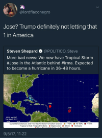 America, Anaconda, and Bad: @lordflaconegro  Jose? Trump definitely not letting that  1 in America  Steven Shepard @POLITICO_Steve  More bad news: We now have Tropical Storm  #Jose in the Atlantic behind #Irma. Expected  to become a hurricane in 36-48 hours.  35พ  25 N  IRMA  JOSE  10:55 am EDT  Tue Sep 52017  100-W  90-W  40 W  30-W  Current Disturbances and Two-Day Cyclone Formation Chance: 83 < 40%  *s 40-60%  Hurricane  x > 60%  Tropical or Sub-Tropical Cyclone: O Depression 6 Storm  9/5/17, 11:22 <p>So he gon make himself useful? (via /r/BlackPeopleTwitter)</p>