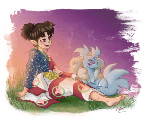 lornaciani: Hello, my fine feathered followers! I'm back with another SessKagu pic, as my infatuation with Kagura continues. In this one, miniature pooch-Sesshomaru looks so much like a Pokèmon I'm actually regretting I passed up the chance to draw Kagu as a Pokèmon trainer! Hehe.  I was tablet-less for a while, then busy preparing for a comic convention (might post one or two pics of my cosplays, even though this is supposed to be strictly my ART blog…), and now exams are looming, so I can't promise I'll be super-active. If I do post, it'll probably be Kagura- or Sansa-related, though. GoT is airing and I'm so hyped. <3  : lornaciani: Hello, my fine feathered followers! I'm back with another SessKagu pic, as my infatuation with Kagura continues. In this one, miniature pooch-Sesshomaru looks so much like a Pokèmon I'm actually regretting I passed up the chance to draw Kagu as a Pokèmon trainer! Hehe.  I was tablet-less for a while, then busy preparing for a comic convention (might post one or two pics of my cosplays, even though this is supposed to be strictly my ART blog…), and now exams are looming, so I can't promise I'll be super-active. If I do post, it'll probably be Kagura- or Sansa-related, though. GoT is airing and I'm so hyped. <3