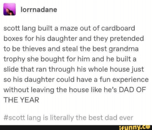 : lorrnadane  scott lang built a maze out of cardboard  boxes for his daughter and they pretended  to be thieves and steal the best grandma  trophy she bought for him and he built a  slide that ran through his whole house just  so his daughter could have a fun experience  without leaving the house like he's DAD OF  THE YEAR  #scott lang is literally the best dad ever  ifunny.co