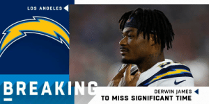 BREAKING: Chargers safety Derwin James could miss significant time with a stress fracture in his right foot. https://t.co/TxUFrxnO1B: LOS ANGELES  BREAKING  DERWIN JAMES  TO MISS SIGNIFICANT TIME BREAKING: Chargers safety Derwin James could miss significant time with a stress fracture in his right foot. https://t.co/TxUFrxnO1B