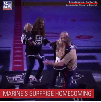 "Family, Memes, and California: Los Angeles, California  Los Angeles Kings via Storyful  oX  chan nel  MARINE'S SURPRISE HOMECOMING ""Ladies and gentlemen, please welcome back from deployment Major Douglass Rauschelbach of the United States Marine Corps!"" The crowd went wild at a recent LA Kings game when a Marine Corps major surprised his family."