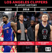 Blake Griffin is out for the postseason and the Clippers curse continues.: LOS ANGELES CLIPPERS  PLAYOFF HISTORY  2015  2016  2017  32  BLEW 3-1 LEAD  BLAKE GRIFFIN &  BLAKE GRIFFIN  INJURY  AGAINST HOUSTON  CHRIS PAULINJURIES  BR Blake Griffin is out for the postseason and the Clippers curse continues.