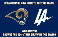 Football, Nfl, and Sports: LOS ANGELES IS NOW HOME TO THE TWO TEAMS  WHO GAVE THE  BROWNS AND 49ers THEIR ONLY WINS THIS SEASON Los Angeles just got its second football team and is already taking L's