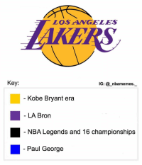 Kobe Bryant, Memes, and Nba: LOS ANGELES  KE  Key:  IG: @_nbamemes._  Kobe Bryant era  LA Brorn  NBA Legends and 16 championships  Paul George Accurate 💀😂 - Follow @_nbamemes._