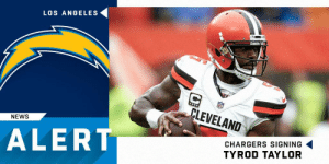 Memes, News, and Chargers: LOS ANGELES  LEVELAND  NEWS  ALERT  CHARGERS SIGNING  TYROD TAYLOR The @Chargers have agreed to terms with QB @TyrodTaylor on a two-year deal. (via @RapSheet) https://t.co/FQMJZQHaiP