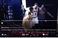 Bogut caught a knee to the shin and was helped off the floor after playing just 2 mins 👀 Thoughts out to Andrew. I will always thank him for helping bring home the title to the Bay. Am not one of the salty fans that he joined CLE. (📷: Rob Perez): LOS  Rob Perez  World Wide Wob 18m  Andrew Bogut carried off floor 2 minutes into Cavaliers career with leg injury  CLEVELAND 2ND OTR  1  217  40  329 Bogut caught a knee to the shin and was helped off the floor after playing just 2 mins 👀 Thoughts out to Andrew. I will always thank him for helping bring home the title to the Bay. Am not one of the salty fans that he joined CLE. (📷: Rob Perez)