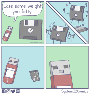 Disc is thicc  By System32 Comics: Lose some weight  you fatty!  @System32Comics  a un  System32Comics  TOON Disc is thicc  By System32 Comics