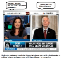 """Duke, Link, and Live: *Losing a debate  """"Do you have a degree in  economics?""""  """"Yes ma'am I do,  highest honors.'  PLACEPOLITICS  LIVE  11:11 CT  msnbc  msnbc  CAPITOL HILL  DEBT  DEBACLE  NBC/WSJ POLL: 58% SUPPORT  PRES. OBAMA'S DEBT PLAN  TOP STORIES UMMIIT WILL AGREE ON NEW GREEK BAILOUT PLAN  Mo Brooks graduated from Duke University in three years with a double major in  political science and economics, with highest honors in economics."""
