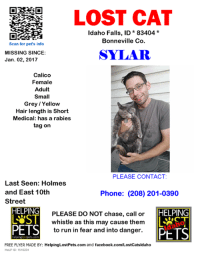 LOST CAT  Idaho Falls, ID 83404  Bonneville Co.  Scan for pet's info  SYLAR  MISSING SINCE  Jan. 02, 2017  Calico  Female  Adult  Small  Grey /Yellow  Hair length is Short  Medical: has a rabies  tag on  PLEASE CONTACT:  Last Seen: Holmes  and East 10th  Phone: (208) 201-0390  Street  HELPING  HELPING  PLEASE DO NOT chase, call or  LEST  LAST  whistle as this may cause them  PETS  to run in fear and into danger.  PtTS  FREE FLYER MADE BY: HelpingLostPets.com and facebook.com/LostCatsldaho  HeLP ID: 1510234 Idaho Falls, ID - Calico - Jan.02, 2017 *Lost* - ID 1510234 HP Helping Lost Pets <info@helpinglostpets.com> Tue 1/10/2017 10:57 AM To: lostpetsidaho@outlook.com;   This Cat is listed with Lost Cats Idaho.  Lost Cat - Idaho Falls, ID - Calico - Jan.02, 2017 Closest Intersection: Holmes and East 10th Street County: Bonneville  #LOSTCAT #Sylar #IdahoFalls (Holmes & East 10th Street) #ID 83404 #Bonneville Co. , #Lost #Cat 01-02-2017!, Female #Calico Grey / Yellow/Contact Kevin Marsh Tag says 1001 Westcliff Drive, but she lives on East 10th Street  CONTACT Phone: (208) 201-0390  More Info, Photos and to Contact: http://www.helpinglostpets.com/petdetail/?id=1510234  To see this pet's location on the HelpingLostPets Map: http://www.helpinglostpets.com/v2/?pid=1510234  Let's get Sylar home! #HelpingLostPets     Please share Sylar          Please tweet Sylar       Please print a Flyer / Poster for Sylar    To see this pet's location on our HeLP Map: helpinglostpets.com/v2/?pID=1510234    To see this pet's detail information page, please visit: helpinglostpets.com/petdetail/?id=1510234     This pet was listed using the Lost Cats Idaho AddPet Portal