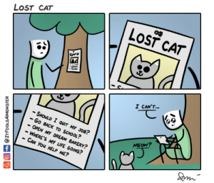Life, Omg, and School: LOST CAT  LOST CAT  I CANT  -SHOLD I QUIT MY JOB?  -Go BACK TO SCHOOL?  - OPEN MY DREAM BAKERY?  - WHERE'S MY LIFE GOING?  CAN You HELP ME?  MEOW? omg-images:  Lost cat