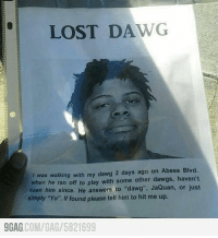 """9gag, Dank, and Friends: LOST DA.  was walking with my dawg 2 days ago on Abess Blvd.  when he ran off to play with some other dawgs, haven't  seen him since.  He answers to """"dawg"""". JaQuan, or just  simply """"Yo"""" If found please tell him to hit me up.  9GAG  COM/GAG 5821699 Share this with your friends to save this guy now! Have anyone found him yet? http://9gag.com/gag/5821699"""