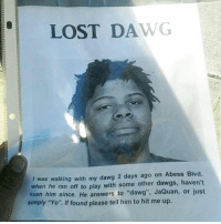 "Yo, Lost, and Trendy: LOST DAWG  I was walking with my dawg 2 days ago on Abess Blvd.  when he ran off to play with some other dawgs, haven't  seen him since. He answers to ""dawg"", JaQuan, or just  simply ""Yo"". If found please tell him to hit me up. @terrible has me 💀 with their posts"