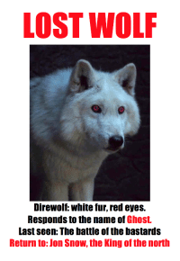 Jon Snow, Lost, and Ghost: LOST WOLF  Direwolf: white fur, red eyes.  Responds to the name of Ghost.  Last seen: The battle of the bastards  Return to: Jon Snow, the King of the north
