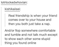 Stupidity: lotrlockedwhovian:  kishikaiisei:  Real friendship is when your friend  comes over to your house and  then you both just take a nap.  And/or flop somewhere comfortable  and tumble and not talk much except  to show each other some stupid  thing you found online