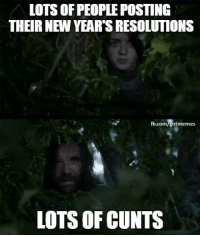 Game of Thrones, New Year's Resolutions, and fb.com: LOTS OF PEOPLE POSTING  THEIR NEW YEAR'S RESOLUTIONS  fb.com/gotmemes  LOTS OF CUNTS