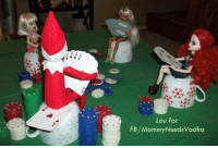 Day 12 Inappropriate Elf on the Shelf: Gambler Elf.  Thank you, Lou, for sending this in!: Lou for  FB/MommyNeeds Vodka Day 12 Inappropriate Elf on the Shelf: Gambler Elf.  Thank you, Lou, for sending this in!