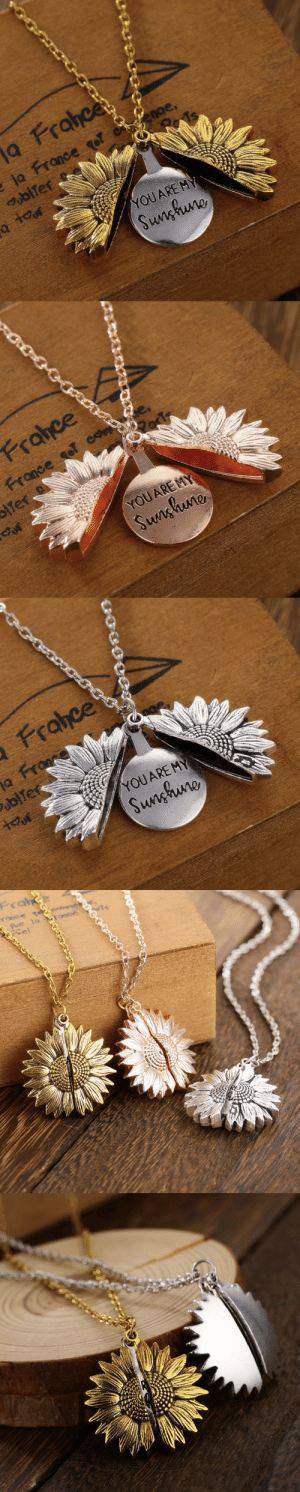 loubear-world-lt:  livelaughlovematters:  This Sunflower Necklace has a hidden message that reveals You Are My Sunshine! Brighten someone's day with one of these adorable Necklace! Remind your friends, family or special someone of your undying love with this stunning piece of jewelry.=> YOU CAN GET YOURS HERE <=   Oh i needed it so much: loubear-world-lt:  livelaughlovematters:  This Sunflower Necklace has a hidden message that reveals You Are My Sunshine! Brighten someone's day with one of these adorable Necklace! Remind your friends, family or special someone of your undying love with this stunning piece of jewelry.=> YOU CAN GET YOURS HERE <=   Oh i needed it so much