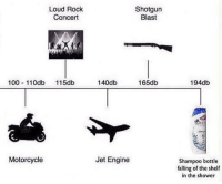 Anaconda, Memes, and Shower: Loud Rock  Concert  Shotgun  Blast  100 110db 115db  140db  165db  194db  Motorcycle  Jet Engine  Shampoo bottle  falling of the shelf  in the shower I can hear it already via /r/memes http://bit.ly/2M4V0HX