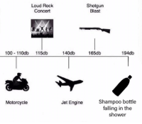 Anaconda, Shower, and Motorcycle: Loud Rock  Concert  Shotgun  Blast  100 11Odb 115db  140db  165db  194db  Shampoo bottle  falling in the  shower  Motorcycle  Jet Engine The loudest sound imaginable
