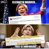 (GC) Love Crowder: LOUDER  ELIZABETH WARREN  CROWDER  coM  Follow  Elizabeth Warren  @Sen Warren  national day  #EqualPayDay isn't a national day of celebration. It's a of embarrassment.  However, women working for Warren were paid just 71 cents for every dollar paid to men during the  2016 fiscal year, according to a Washington Free Beacon analysis.  Five men-Warren's director of oversight and investigations (s156,000), legislative director  ($149,458), deputy chief of staff Massachusetts state director and deputy  state director ($113,750) earned more than Warren's highest paid woman staffer in 2016  THIS IS AWKWARD (GC) Love Crowder