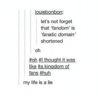 """Fanatic, Huh, and Memes: louie bonbon  let's not forget  that 'fandom' is  """"fanatic domain  shortened  oh  ffoh #I thought it was  like tha kingdom of  fans huh  my life is a lie MANDELA EFFECT"""