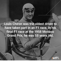 Now that's what I want to be doing at 58 👌 . . wtf1 wtf1official motorsport monaco grandprix f1 formula1: Louis Chiron was the oldest driver to  have taken part in an F1 race. In his  final F1 race at the 1958 Monaco  Grand Prix, he was 58 years old.  wtf1. Now that's what I want to be doing at 58 👌 . . wtf1 wtf1official motorsport monaco grandprix f1 formula1