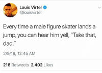 """@moistbuddha was voted most likely to offend everyone in 2018: Louis Virtel  @louisvirtel  Every time a male figure skater lands a  jump, you can hear him yell, """"Take that,  dad.""""  2/9/18, 12:45 AM  216 Retweets 2,402 Likes @moistbuddha was voted most likely to offend everyone in 2018"""