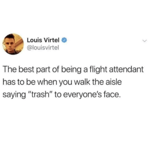 "Trash, Best, and Flight: Louis Virtel  @louisvirtel  The best part of being a flight attendant  has to be when you walk the aisle  saying ""trash"" to everyone's face. Wait Im not supposed to do this regularly?"