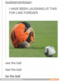 Funny, Forever, and Been: louisharrystylinson:  I HAVE BEEN LAUGHING AT THIS  FOR LIKE FOREVER  see the ball  feel the ball  be the ball  Reinvented by thedoctor_allonsy for iFunny:)  ifunny.mobi WHY IS THIS SO FUNNY