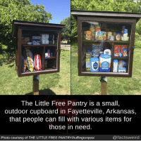 Cupboard: lour  The Little Free Pantry is a small,  outdoor cupboard in Fayetteville, Arkansas,  that people can fill with various items for  those in need  Photo courtesy of THE LITTLE FREE PANTRY/huffingtonpost  @factsweird