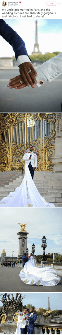 Love, Tumblr, and Blog: LOVE 10/18  Follow  @CAMSQUIAT  My uncle got married in Paris and the  wedding pictures are absolutely gorgeous  and fabulous, I just had to share! purple-apricots:  niggazinmoscow: Perfectly gay ❤️  THAT CAPE IS EVERYTHING