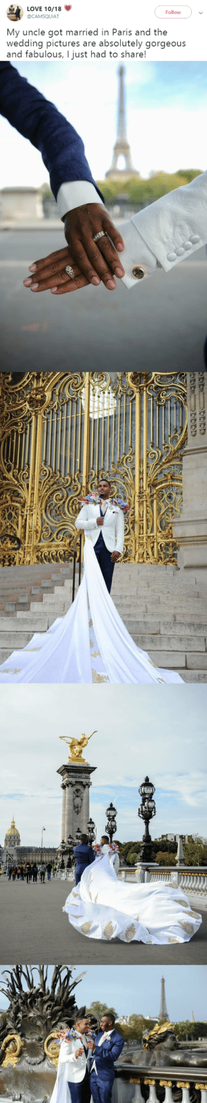 tooiconic: niggazinmoscow: Perfectly gay❤️  That is the most amazing wedding tux alteration I have ever seen.    Oh my god that's so cute.Me at the tailor: gimme wedding capeTailor: what Me: W E D D I N G  C A P E: LOVE 10/18  Follow  @CAMSQUIAT  My uncle got married in Paris and the  wedding pictures are absolutely gorgeous  and fabulous, I just had to share! tooiconic: niggazinmoscow: Perfectly gay❤️  That is the most amazing wedding tux alteration I have ever seen.    Oh my god that's so cute.Me at the tailor: gimme wedding capeTailor: what Me: W E D D I N G  C A P E